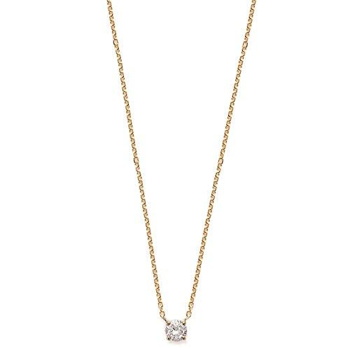 Cadena collar fino en chapado en oro–colgante fix Solitaire en óxido de circonio