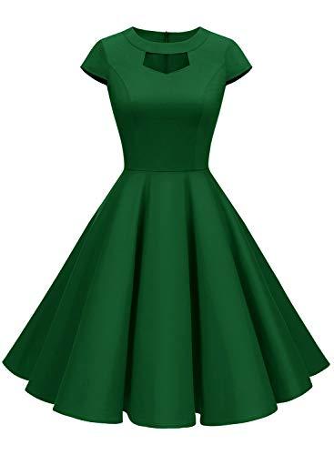 Vestido vintage de los años 50 para mujer, de Alagirs, estilo rockabilly, retro, con cuello Verde militar. S