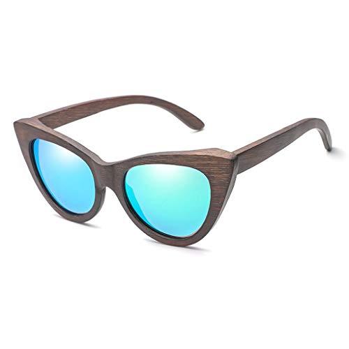 Gafas sol Madera de bamb del Ojo de Gato de Moda de Las Mujeres, vidrios y anteojos polarizados de la Personalidad de Madera Gafas de bamb (Color : Green)