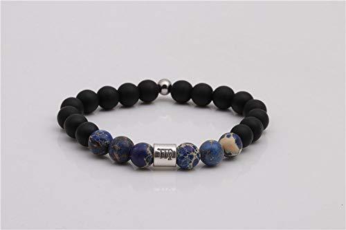 Natuurlijke stenen armband, kralen armband, 8 mm mode yoga energie Lucky armband vulkanische steen mat steen sterrenbeeld Maagd decoratie sport kralen yoga armband gepersonaliseerde kleding accessoires J