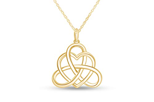 Jewel Zone US Good Luck Irish Triangle Heart Celtic Knot Vintage Pendant Necklace 14k Yellow Gold Over Sterling Silver, 18' Chain