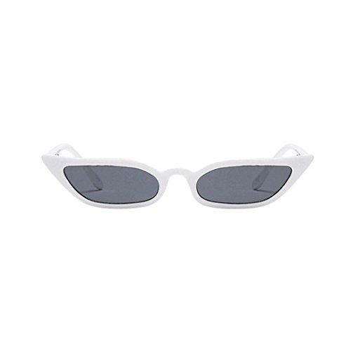 Lenfesh Frauen Vintage Katzenaugen-Sonnenbrille Retro kleine Rahmen UV400 Brillen Mode Damen (Weiß)