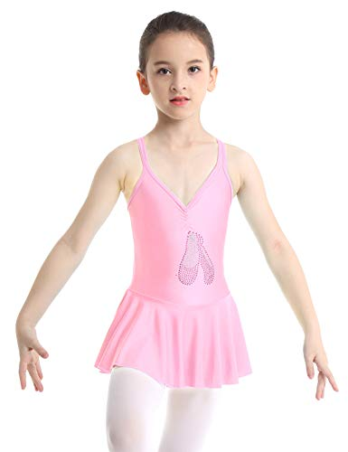 iixpin Maillot Infantil de Ballet Patinaje Vestido de Danza con Lentejuelas Leotardo Gimnasia Espalda Cruzada Body con Volantes Traje Bailarina 4-14 Años Rosa A 4-5 Años
