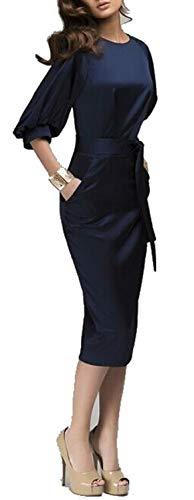 Superhouse Womens Lantern Sleeve Navy Blue Wear to Work with Belt Dress Plus-Size (X-Large, Navy)