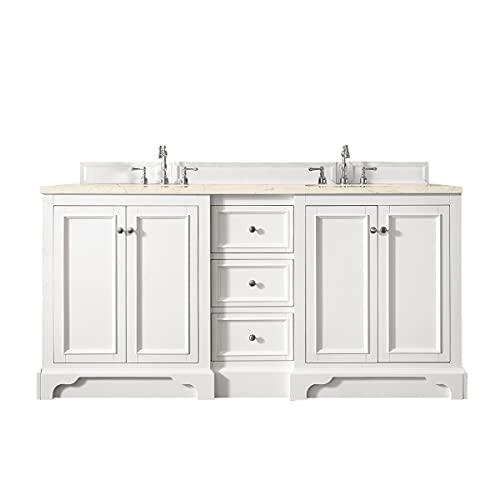 James Martin Furniture 825-V72-BW-3EMR 72 in. De Soto Double Vanity with 3 cm Eternal Marfil Quartz Top44; Bright White