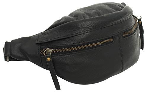 Gusti Bauchtasche Damen Leder - Acton Gürteltasche Cross Body Bag Hüfttasche Leder Schwarz Reißverschluss Damen Herren