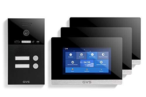 GVS Videoportero IP IP65 con RFID, monitor de 3 x 7 pulgadas, aplicación, cámara HD de 120°, apertura de puertas, memoria de 32 GB, interruptor PoE, set de 2 casas, AVS4241A