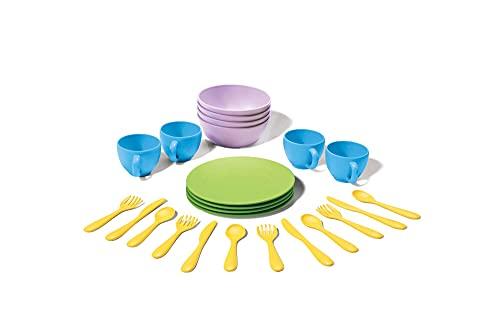 Green Toys 8664052, Geschirrset für Kinderküche, Spielküche, Rollenspiel, nachhaltiges Küchenspielzeug für Kinder ab Monaten, 24-teilig