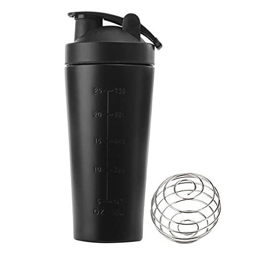 Proteína de suero en Polvo Botella coctelera Deportiva para Botellas de Agua Taza de licuadora de nutrición de Gimnasio Taza de Agua con Aislamiento al vacío de Acero Inoxidable - Negro