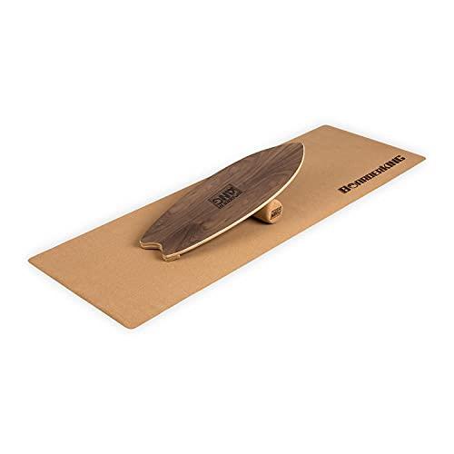 BoarderKING Indoorboard Wave - Tabla de Equilibrio, Forma Tabla de Surf, Madera Arce, Recubierto plástico, Esterilla y Rodillos de Corcho, Topes Desmontables, Dimensiones 32 x 5 x 88 cm, Nuez