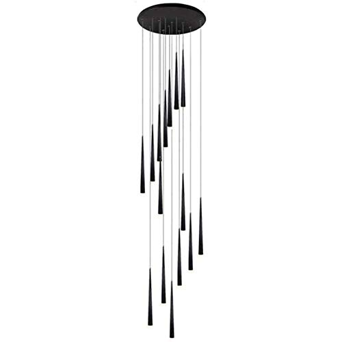 yanzz Lámpara de araña de Cono Escalera giratoria Lámpara Colgante Larga Loft Edificio dúplex Gran Techo Colgante Poste de luz Luz Moderna para Bar