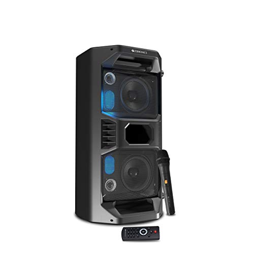 Zebronics Zeb-Space Deck Pro Bluetooth Supporting Portable Speaker with USB,mSD Card,AUX,Built -in FM,LED Lights, TWS Function, Wireless Mic and Remote Control-(Black)