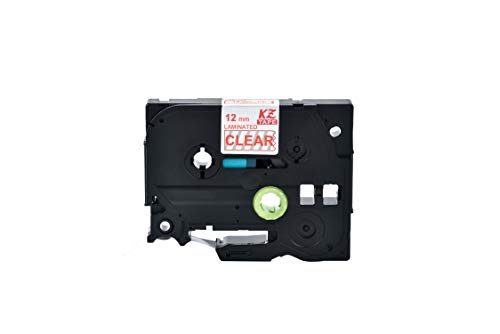 Compatible for Brother Tze132 0.47 Inch 26.2feet (12mm/8m) P Touch Laminated red on Clear Standard Replace Waterproof Label Tape Maker PT-H110/PT-D200/PT-D210/PT-D400/PT-D600/PT-1280/PT-1290(1PACK)