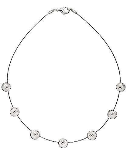 Perlkönig Collier Kette Halskette | Damen Frauen | Silber Farben | Runde 7 Muscheln | Nickelabgabefrei