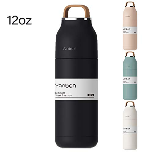 Stainless Steel Water Bottle Yanben Vacuum Cup Leakproof 12oz with Soft Silicone Handle Insulated lid Doubles as Portable Coffee Cup for Office or Outdoor