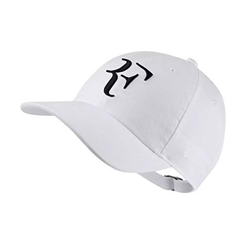 Nanyin - Gorra de béisbol con diseño de estrella de tenis Roger Federer, 100% algodón, bordado 3D, unisex, gorra de tenis - Blanco - Talla única