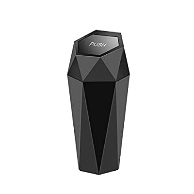 OUDEW Car Trash Can with Lid, New Car Dustbin Diamond Design, Leakproof Vehicle Trash Bin, Mini Garbage Bin for Automotive Car, Home, Office, Kitchen, Bedroom, 1PCS (Black) by OUDEW