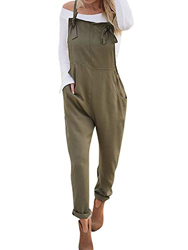 VONDA Damen Latzhose Retro Lange Overall Größe Jumpsuit Baggy Sommerhose C-Armeegrün L
