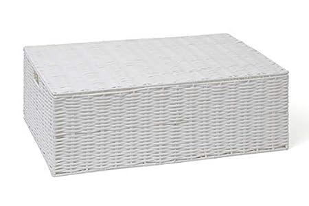 ARPAN Caja de Almacenamiento de Resina Tejida Debajo de la Cama, Estante de Pecho con Tapa, Blanco, Large