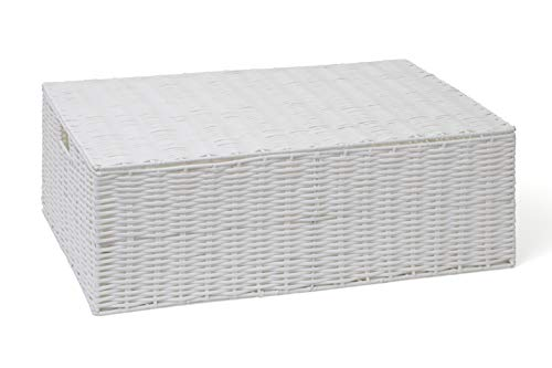 ARPAN Resin Woven Under Bed Storage Box, Chest Shelf Toy Clothes Basket With Lid - White (Large)