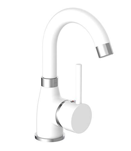 EISL Waschtischarmatur FUTURA, energiesparende Waschbeckenarmatur, 360° schwenkbarer Wasserhahn Bad, NI075FUTWCR, Weiß Matt/Chrom