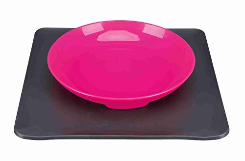 Yummynator 08233 Rutschfeste Matte Mit Futternapf | BPA Frei | Tiernapf-System: Vereint Napf und Platzmatte | Futternapf für Katze oder Hund | Futternapf mit Unterlage | Grau / Pink | Small