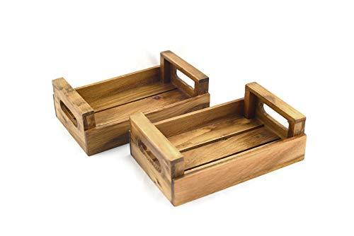 Hostelnovo - Juego de 2 paneras de Madera Natural Envejecida para Mesa - Producto sostenible y de proximidad, Fabricado en España - 20.5 x 13 x 6.5 cm - 2 Unidades