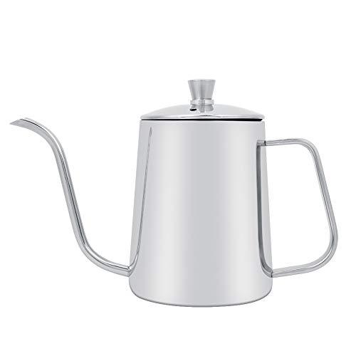 Kaffeekanne, silberner Kaffeekessel aus Edelstahl mit Schwanenhals