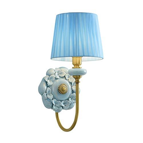 Lámpara de pared Estilo americano Lámpara de pared de cobre completa Sala de estar Dormitorio Lámpara de pared de noche Lámpara de pared de cerámica creativa Lámpara de pared para dormitorio
