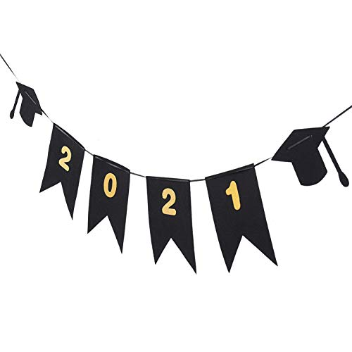 PRETYZOOM Banner de Gorra de Graduación Banderas de Banner de Graduación para La Escuela Secundaria Felicitaciones de La Universidad Fiesta de Graduación Clase de 2021 Decoración Colgante