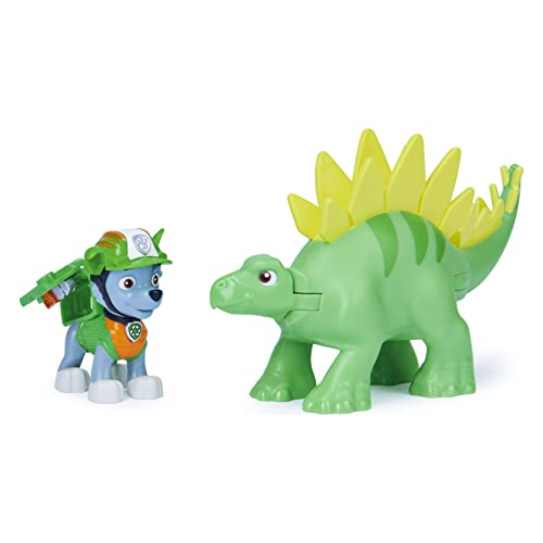 Paw Patrol, Dino Rescue Rocky and Dinosaur Action Figure Set, for Kids Aged 3 and up