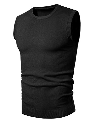Lavnis Men's Round-Neck Pullover Vest Casual Sleeveless Knitted Slim Fit Sweater Vest Black XL
