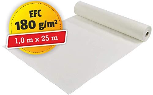 Schutzvlies selbsthaftend | Abdeckvlies | Malervlies | mit Folie | mehrfach verwendbar | 1 m x 25 m | 180 g/m²