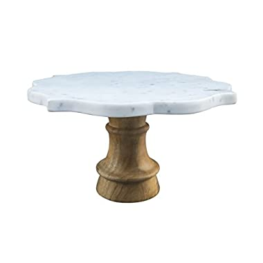 Thirstystone NMPTV53 Pastry Stand Patina Vie Marble Cake Acacia Wood Base, One Size, White