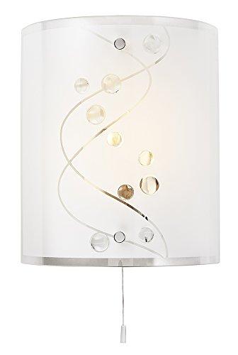 Hedendaagse witte glazen en helderglazen kralen wandlamp met trekschakelaar