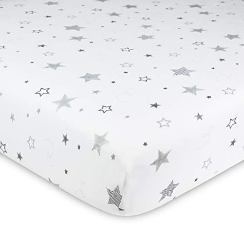 American Baby Company Printed 100% Cotton Jersey Knit Fitted Crib Sheet for Standard Crib & Toddler Mattresses, Super Stars, for Boys & Girls