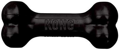 KONG – Extreme Goodie Bone – Robuster Kautschukknochen für kräftiges Kauen, Schwarz – Große Hunde