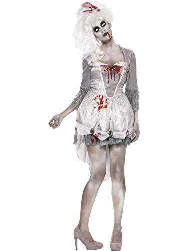 costumebakery - Damen Frauen Kostüm historisches Ballkleid Zombie Horror Geist Gespenst mit Kopftuch, perfekt für Halloween Karneval und Fasching, M, Grau