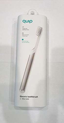 Quip Electric Toothbrush - Silver Metal - Electric Brush and Travel Cover Mount (New Edition)