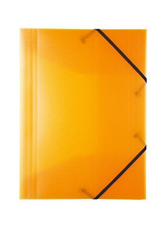 Idena 213311 - Gummizugmappe für DIN A4, aus Polypropylen, transluzent orange, 1 Stück