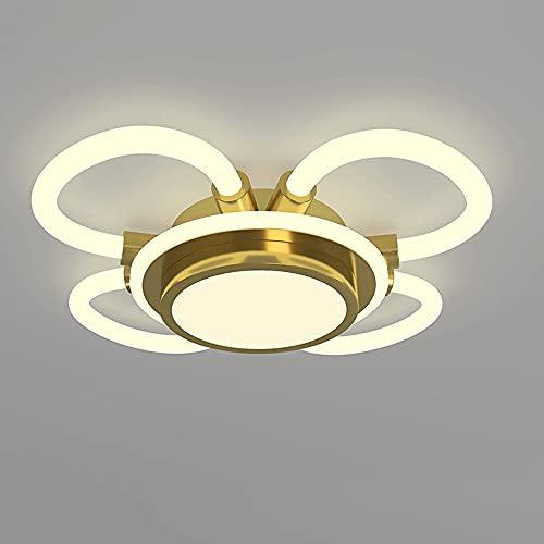 LXIANG Luz de techo LED empotrada en forma de flor de estilo europeo, lámpara de techo interior regulable de tres colores, iluminación de dormitorio de bajo consumo de 64 vatios para la sala de estar
