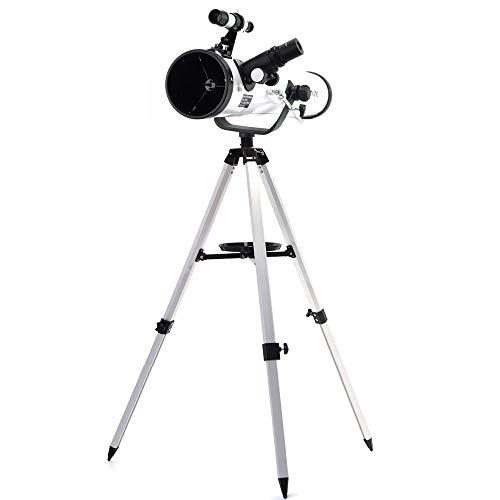LEDU Telescopio astronómico de 3 Pulgadas de Reflector de Metal telescopio astronómico para el Planeta Espacial para observar la Luna, Adecuado para los niños Principiantes
