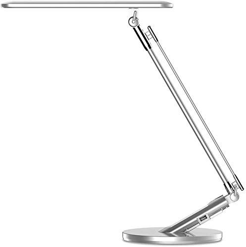 Lámpara Escritorio LED,JUKSTG 4 Modos 7 Niveles de Brillo Plegable Control Tácti Lámpara de Mesa,Temporizador de 1 Hora Puerto USB Lámpara de Oficina,Regulable Lectura Estudio Lámpara(Plateado)