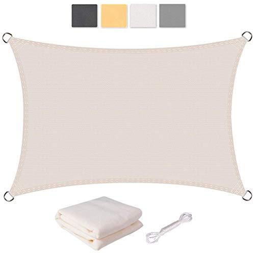 Logo Rechteckig Sonnensegel 3x4.5m 95% UV Schutz Sonnensegel Wasserdicht mit Seilen und Befestigungs Kit für Garten, Balkon, Outdoor, Terrasse, Weiß