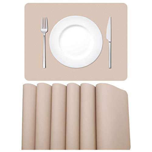 MORROLS Tischsets Abwaschbar, Tischset Leder 6er Set Waschbar rutschfeste Platzset für Zuhause Restaurant Speisetisch, 42x30cm, Beige/Rosa.