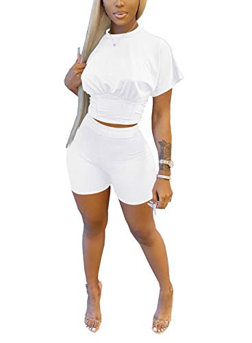 Women's Summer Casual 2 Piece Outfit Short Slim T-Shirt Tops Bodycon High Waist Shorts Sportswear Tracksuit White L