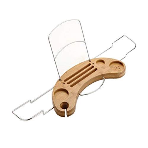 Shelf Tasse Extensible Côtés/Verre à Vin/Support IPad/Support pour Smartphone, Cadre en Métal Livre/Coussin/Support De Bain avec Tissu Imperméable en Caoutchouc Antidérapant