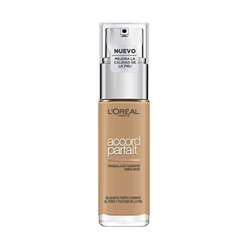 L'Oréal Paris Accord Parfait, Base de maquillaje acabado natural con ácido hialurónico, tono piel medio-oscuro 6.5D, 30 ml