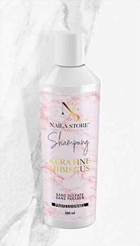 Shampoing kératine hibiscus Naila Store accélérateur de pousse SANS SULFATE SANS PARABEN
