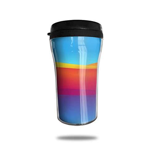 Taza de café de viaje con impresión 3D de vacío portátil, taza de té aislada, taza de agua, taza de viaje para hombres, mujeres y niños, ola naranja